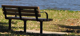 Bench beside the Fox river